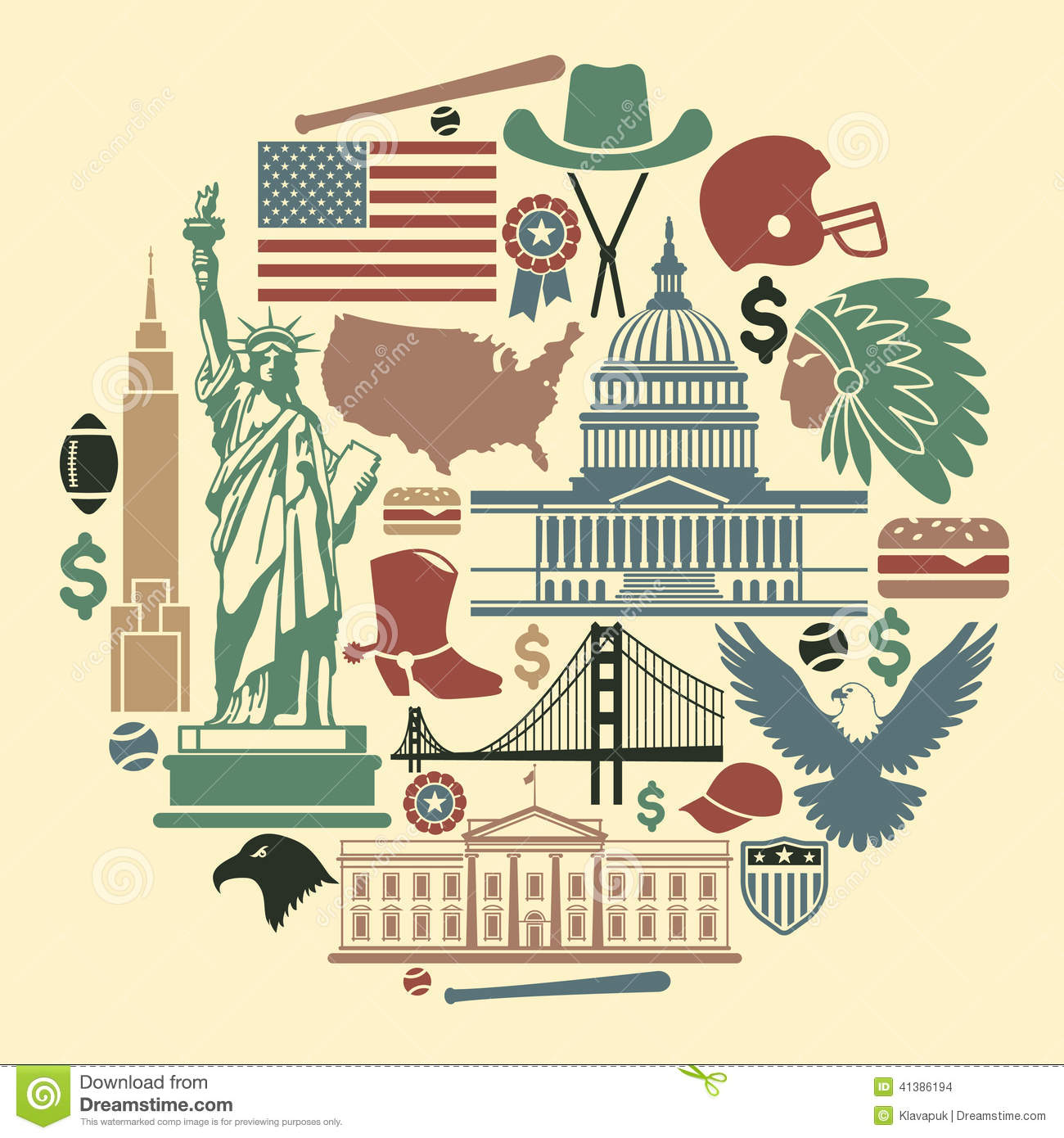 Symbols Of The Usa In The Form Of A Circle Stock Vector