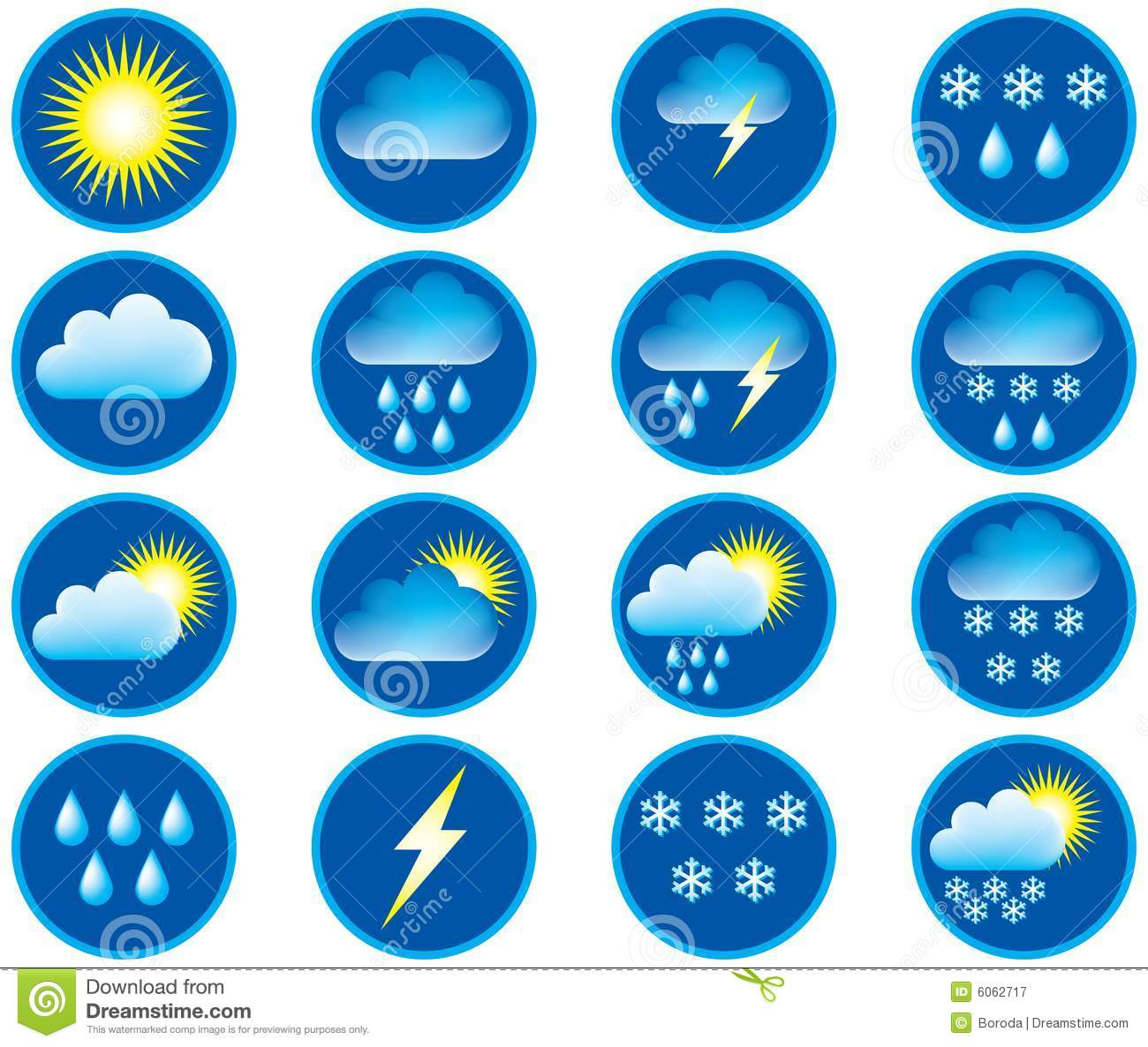 Symbols For Weather Stock Vector Illustration Of Circle