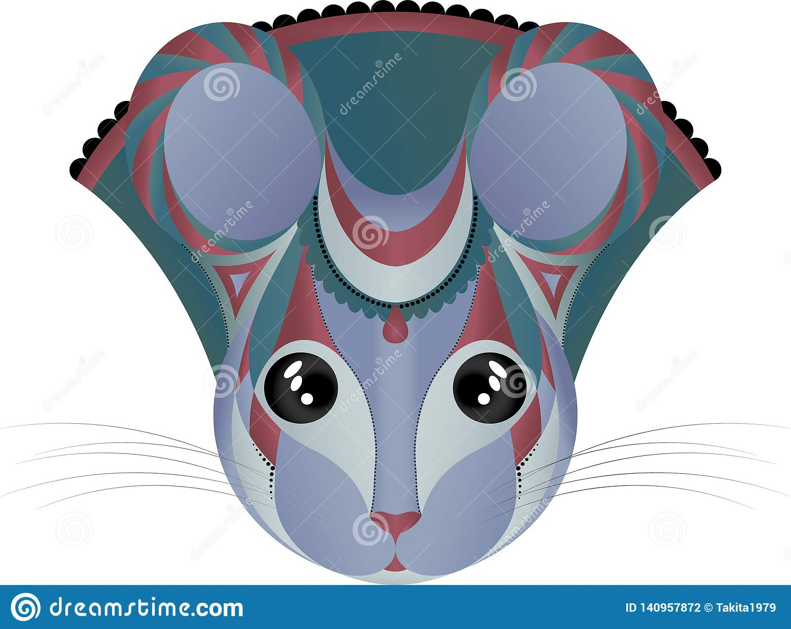 Mouse Symmetry Style Seamless Pattern Cartoon Vector