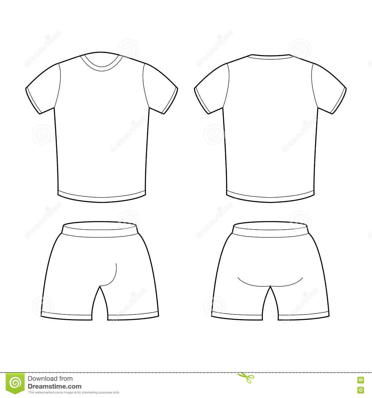 T Shirt And Shorts Template For Design Sample For Sports