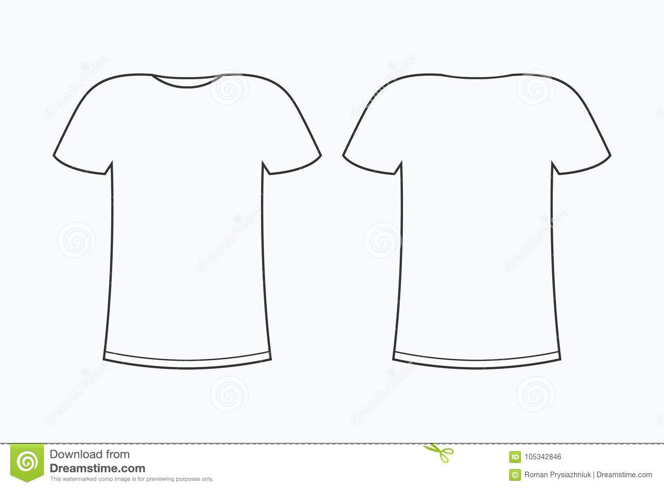 T Shirt Template Blank Line Tee Shirt Front And Back
