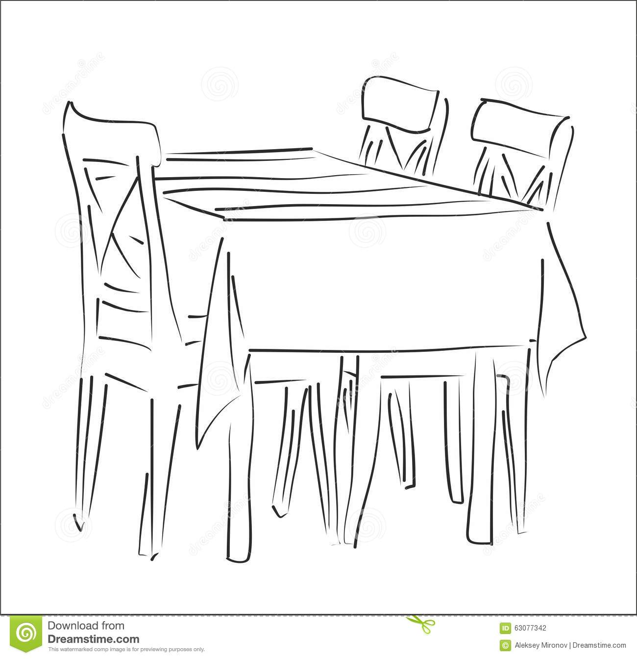 Table And Chairs Silhouette Vector Stock Vector
