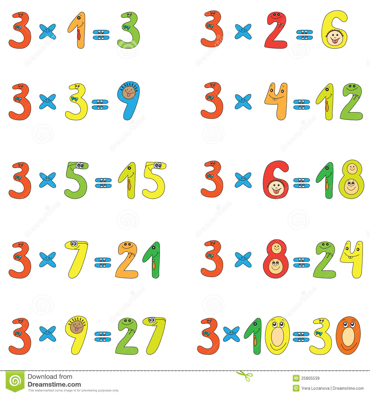 Table De Multiplication De 3 Images Libres De Droits