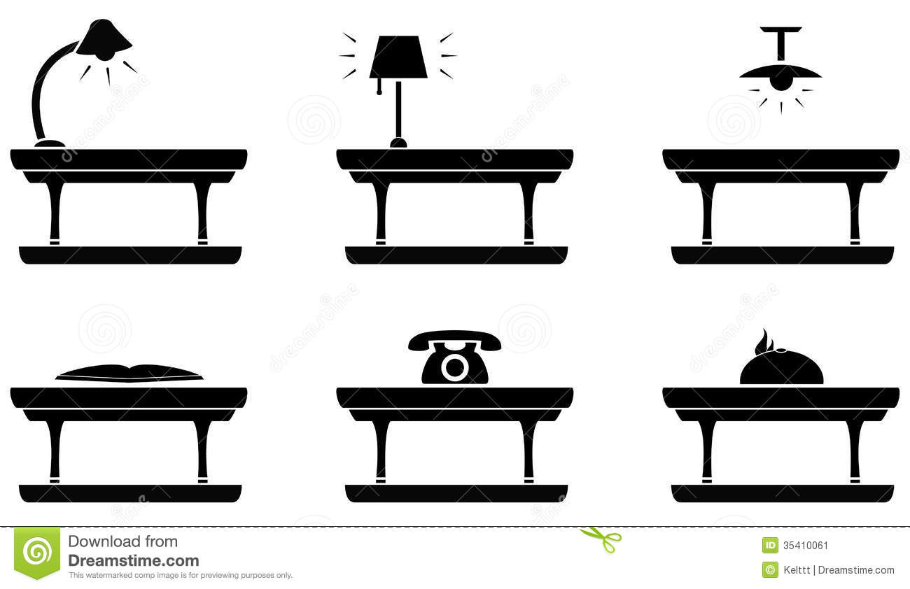 Table Icon For Living Room Food And Office Stock Vector
