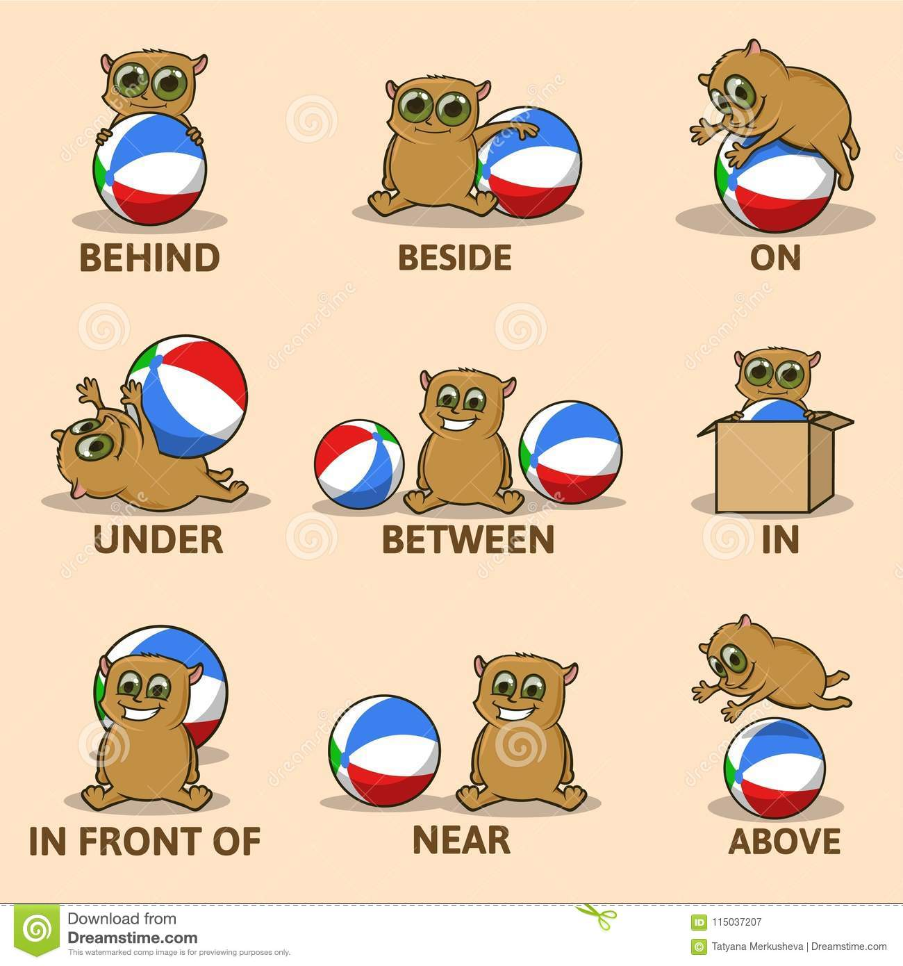 Table Of Prepositions Of Place With Funny Animal Character English For Children Educational