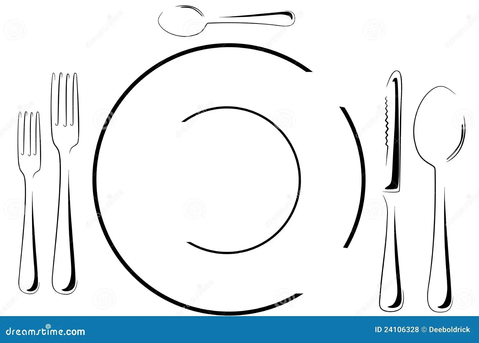 Table Setting In Line Art Stock Vector Illustration Of