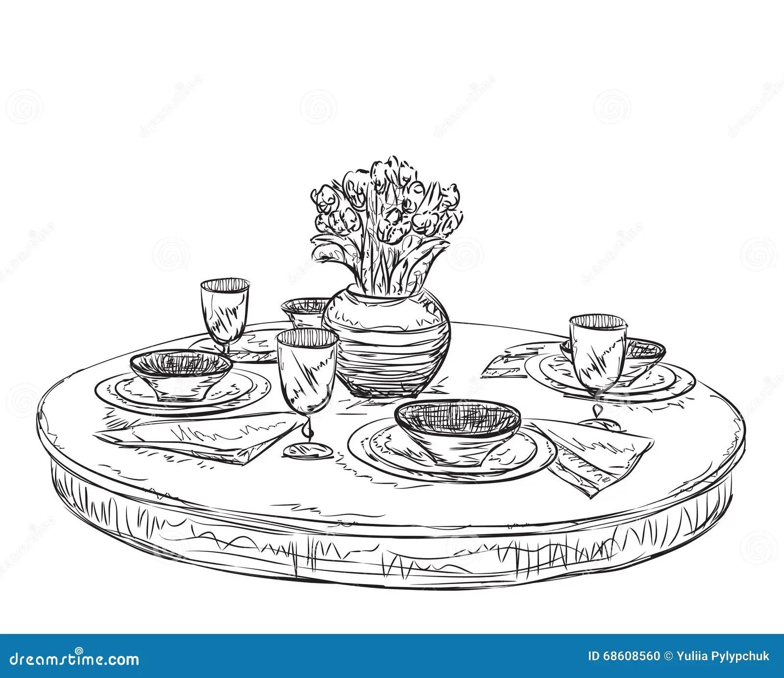 Table Setting Set Weekend Breakfast Or Dinner Stock