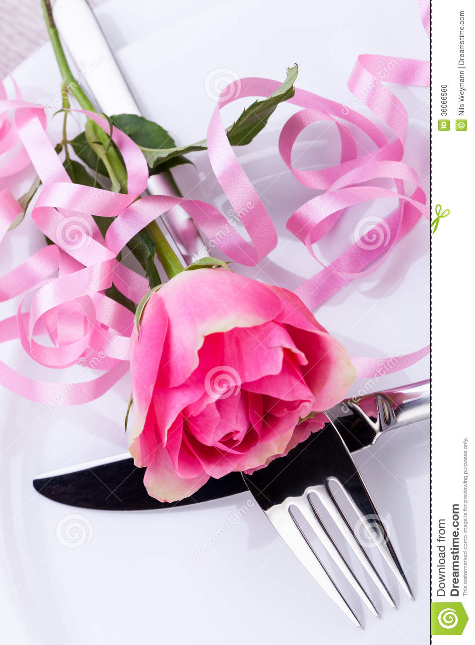 Table Setting With A Single Pink Rose Stock Photo Image