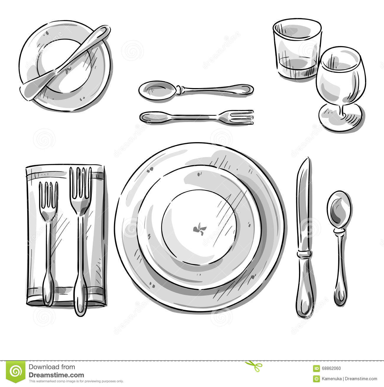 Table Setting Vector Sketch Stock Vector