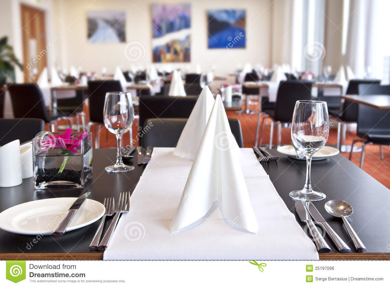 Tables With Formal Setup In Modern Restaurant Royalty Free