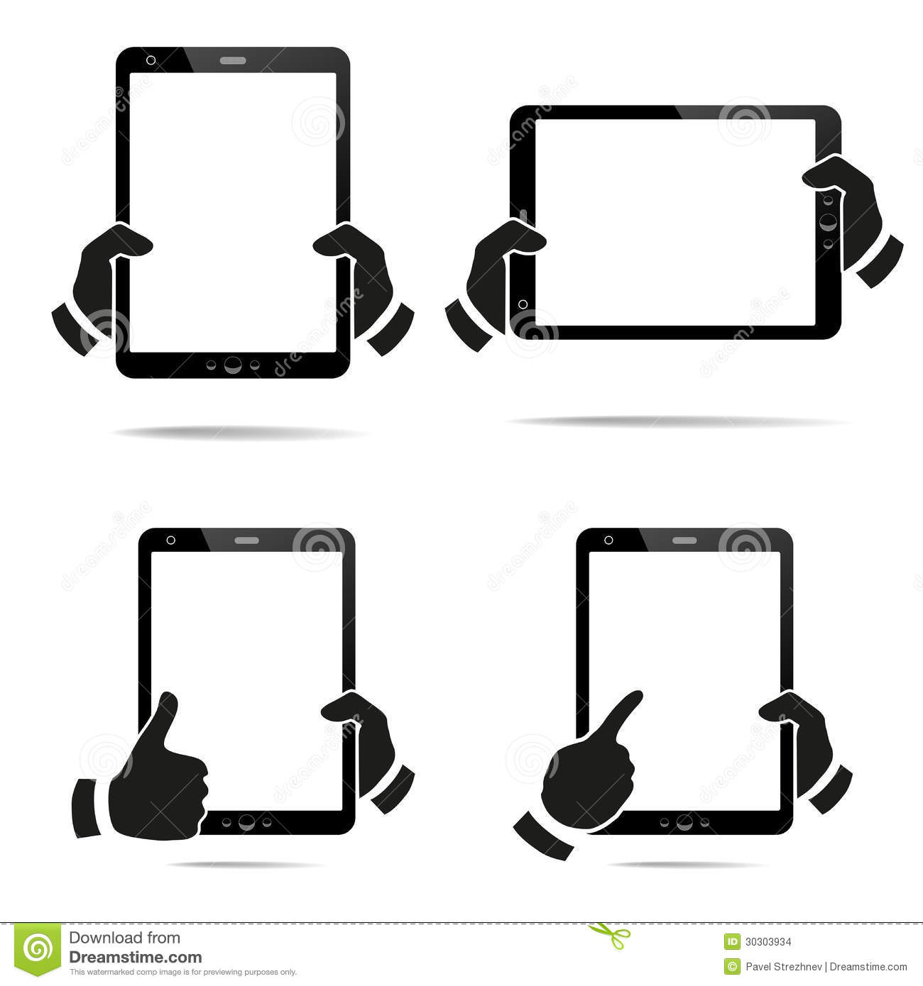 Hands Holding A Tablet With Isolated Screen Stock Images