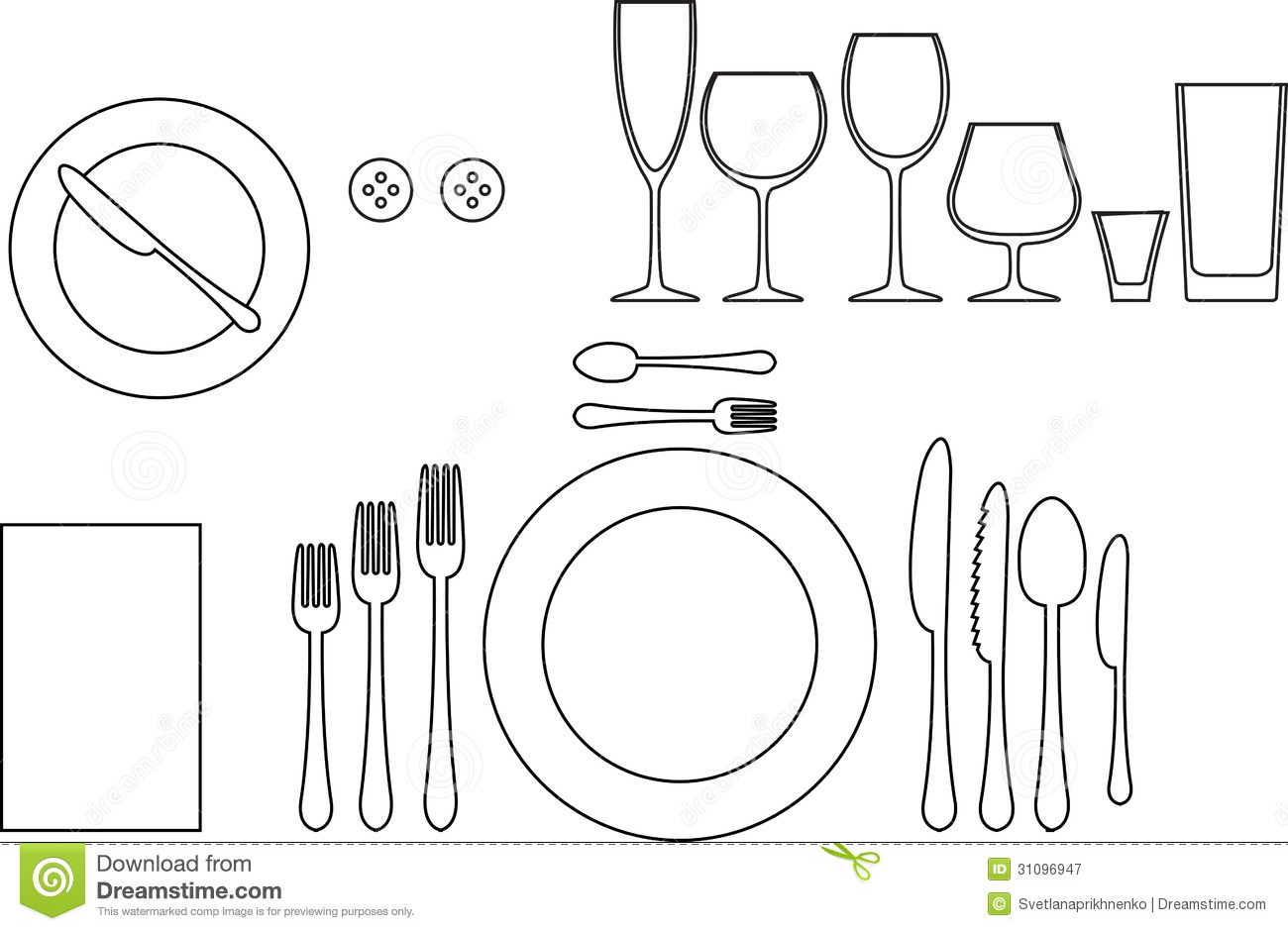 Tableware Stock Vector Illustration Of Meal Food