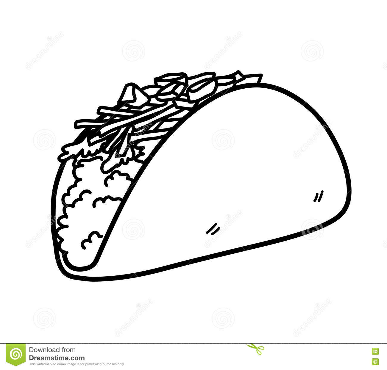 Taco Mexican Food Doodle Stock Vector Image Of Commercial