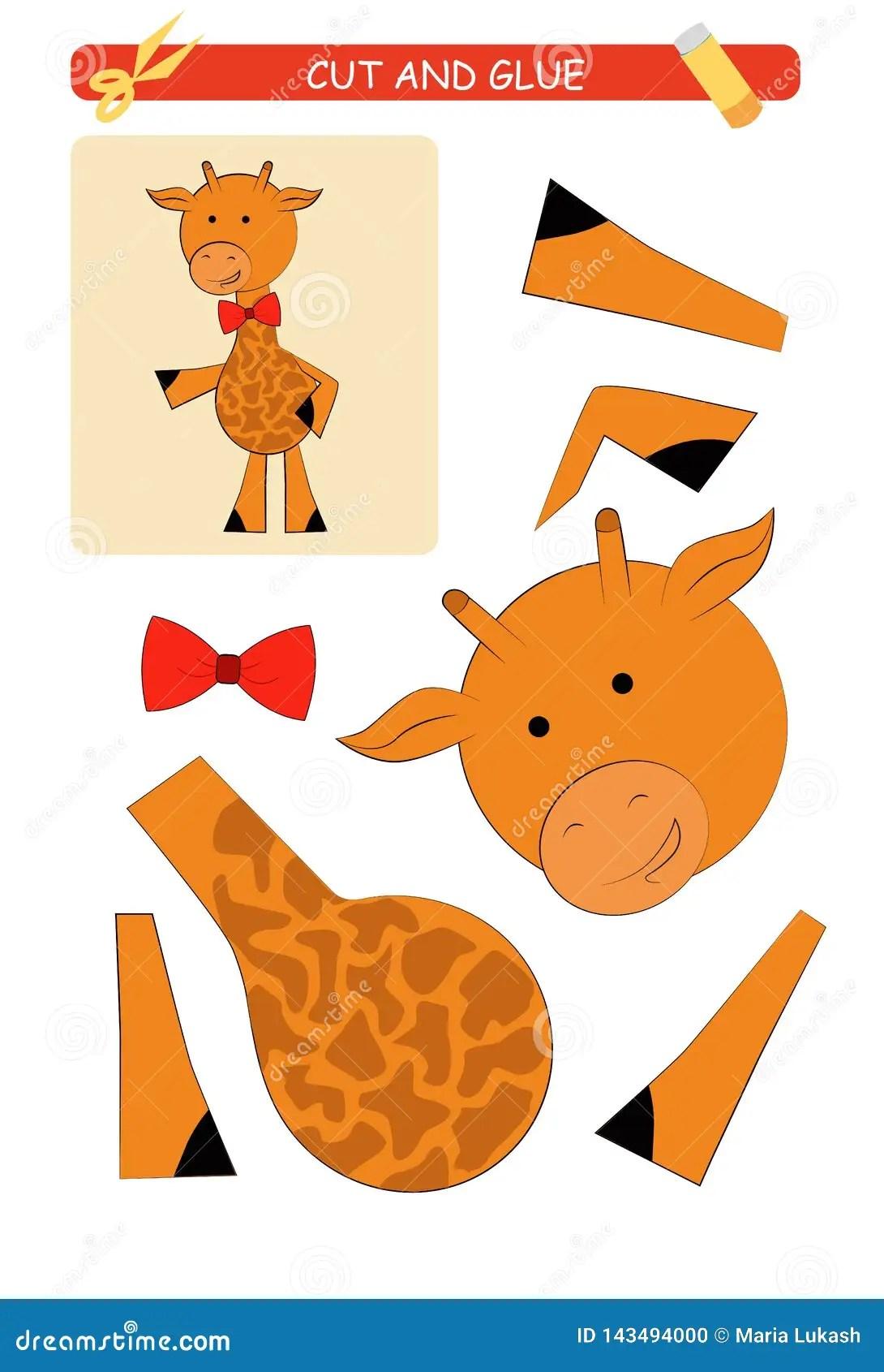 Tagli E Foglio Di Lavoro Della Colla Giraffa Gioco