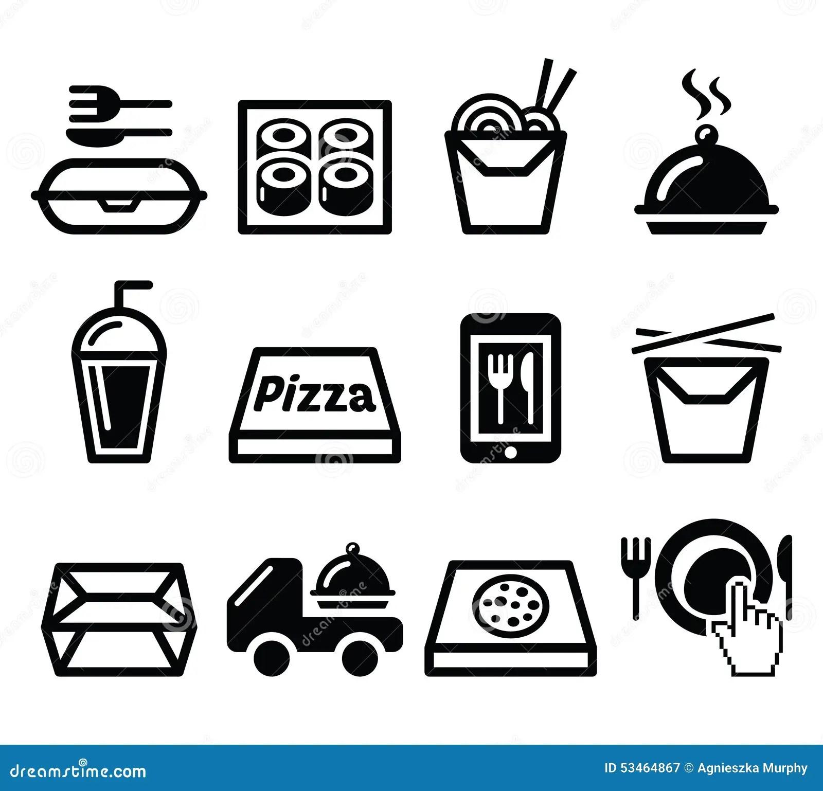 Take Away Box Meal Icons Set Stock Photo