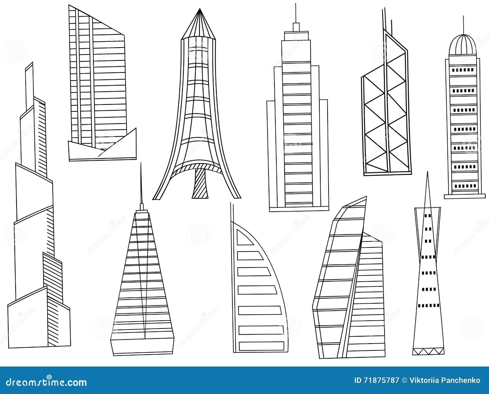 Tall Buildings Coloring Book Vector Cartoon Vector