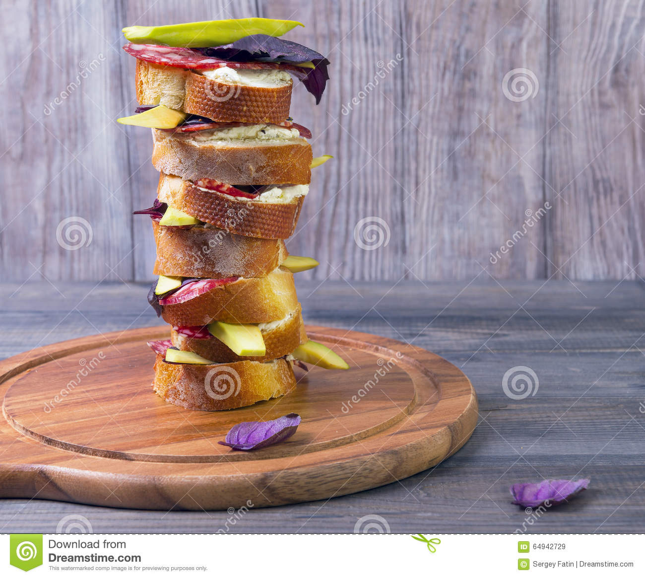 Cooking Small Sandwiches Tapas With Avocado Stock Image