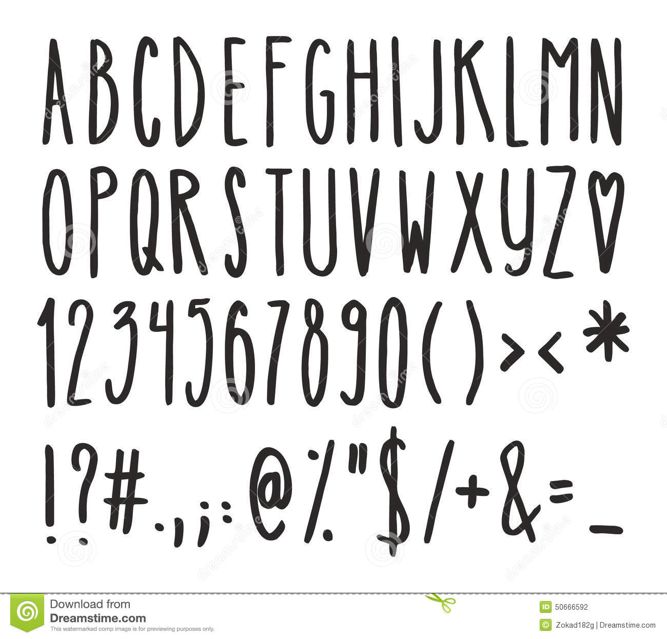 Tall And Skinny Handwriting Alphabet Numbers And Symbols