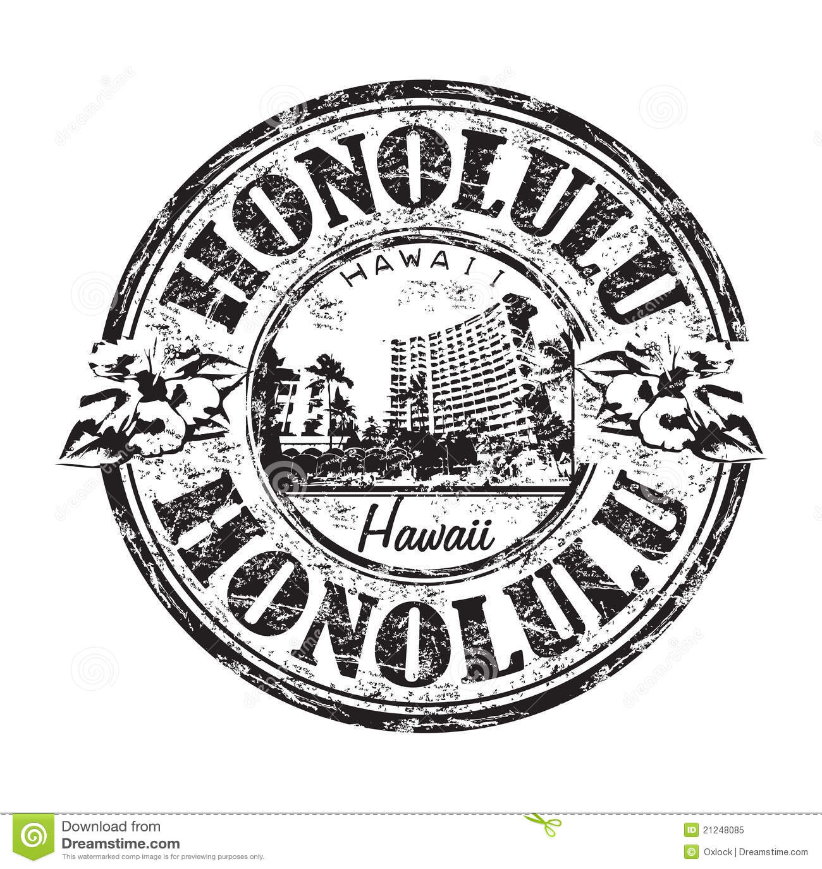 Tampon En Caoutchouc De Grunge De Honolulu Illustration De