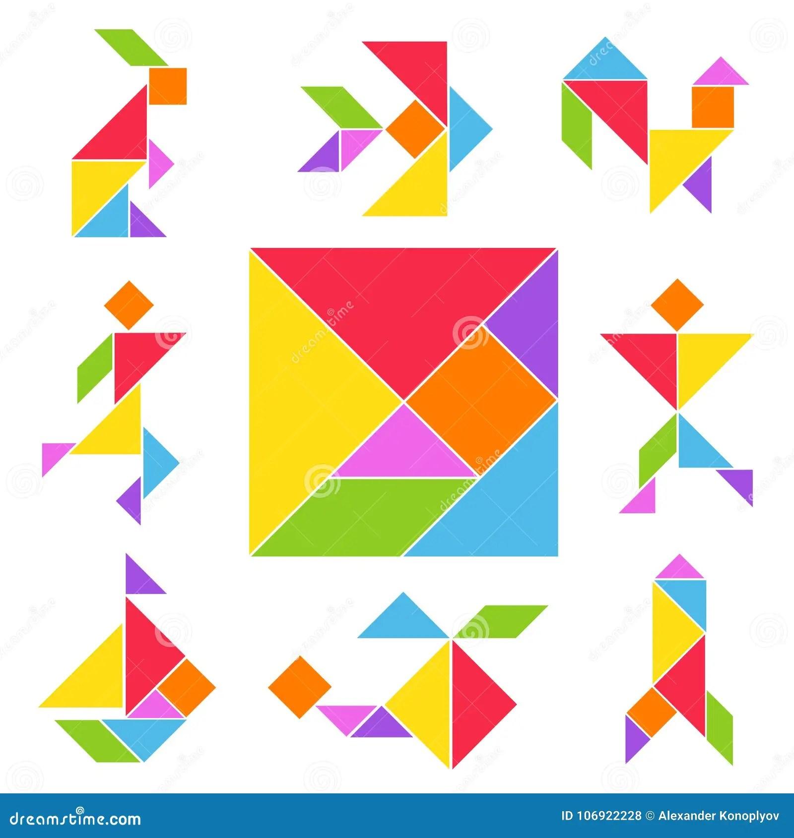 Tangram Game Set Stock Vector Illustration Of Figure