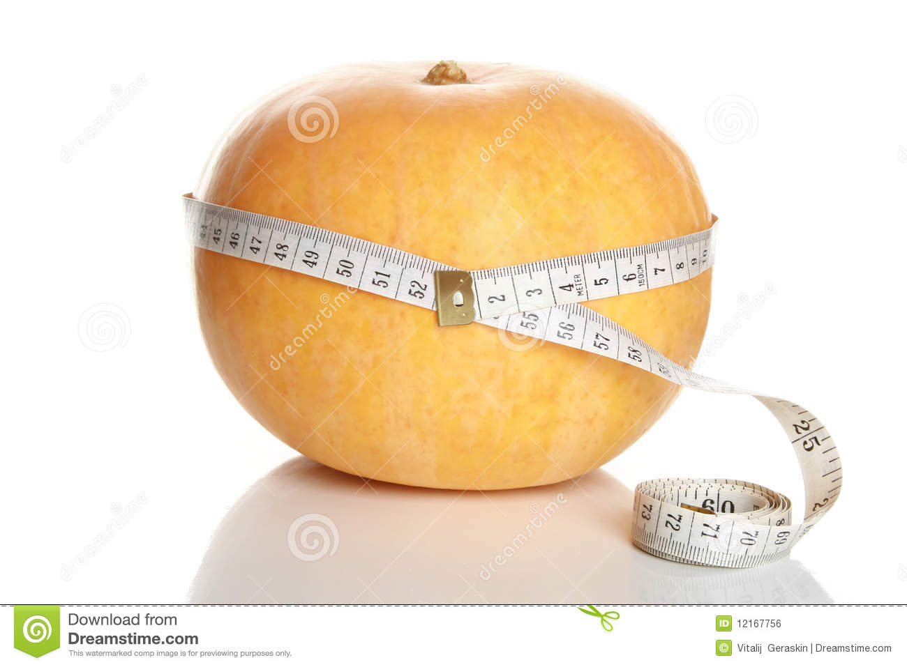 Tape Measure Around Pumpkin Stock Photo