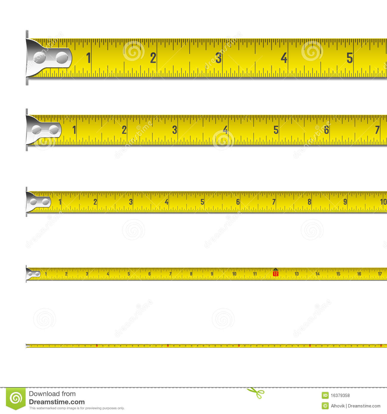 Tape Measure In Inches Stock Vector Illustration Of Inch