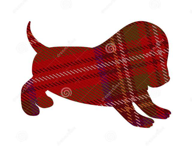 Tartan Pattern In The Shape Of A Cheerful Doggy Style Side View Pattern In A Cell