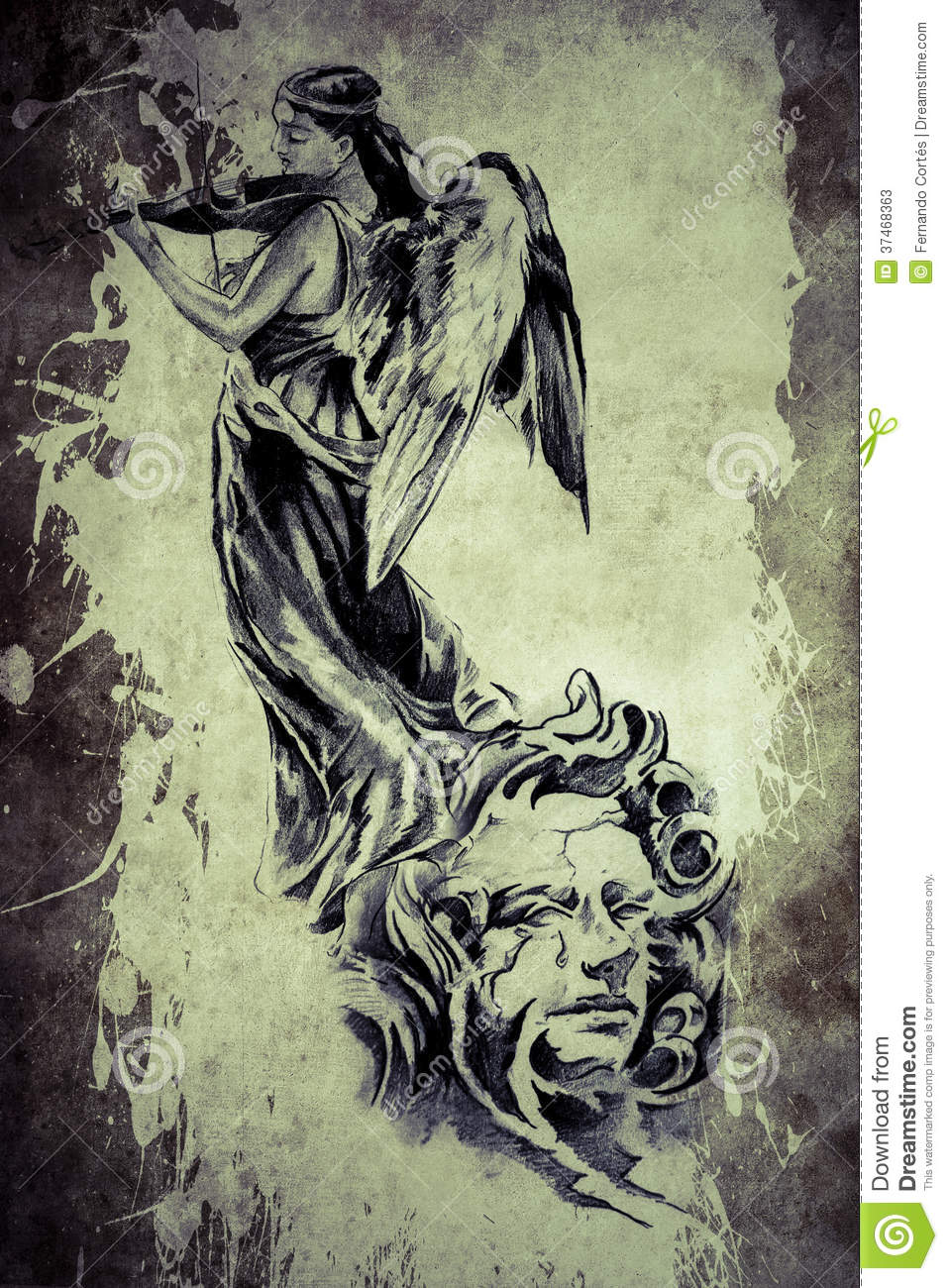 Tattoo Angel Playing The Violin Stock Photos Image 37468363