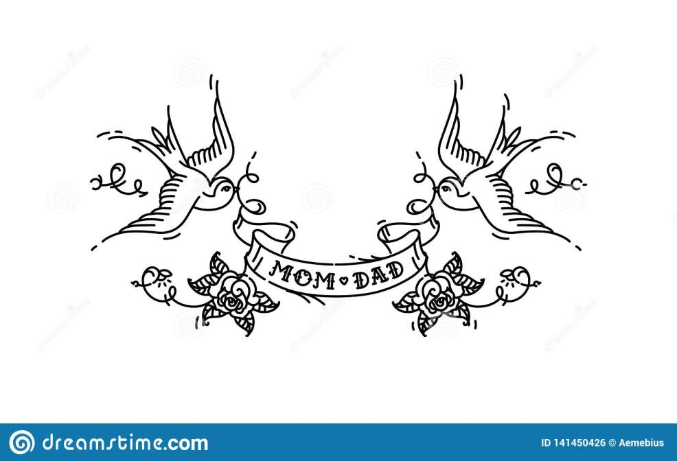 Tattoo Swallows With The Inscription Of Mom Dad On Tape Vector