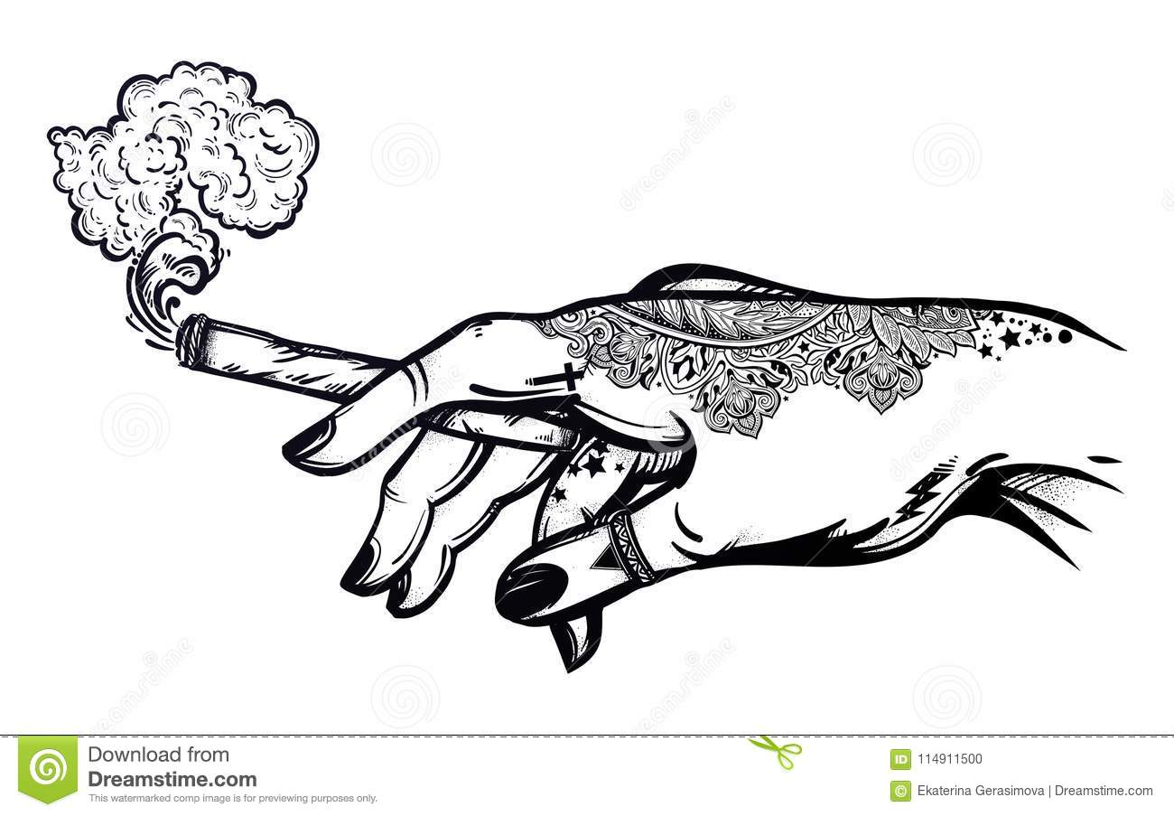 Hand With Weed Joint Or Cigarette Illustration Stock