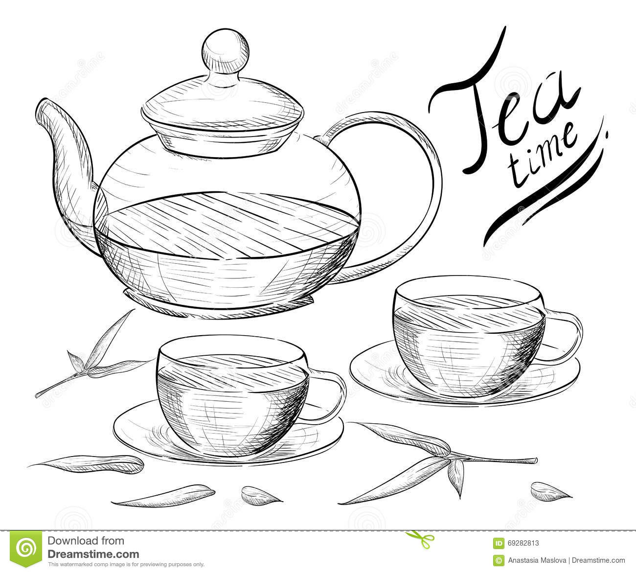 Tea Collection Hand Draw Illustration Tea Time Tea Cup