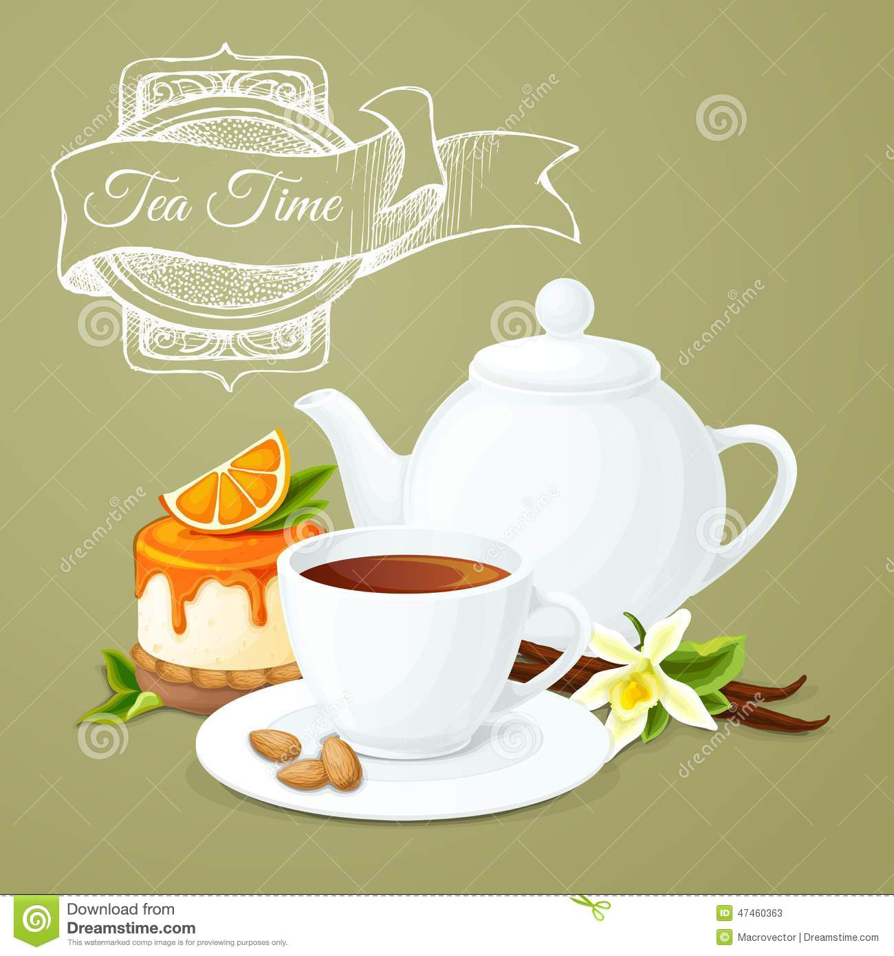 Tea Party Poster Stock Vector Illustration Of