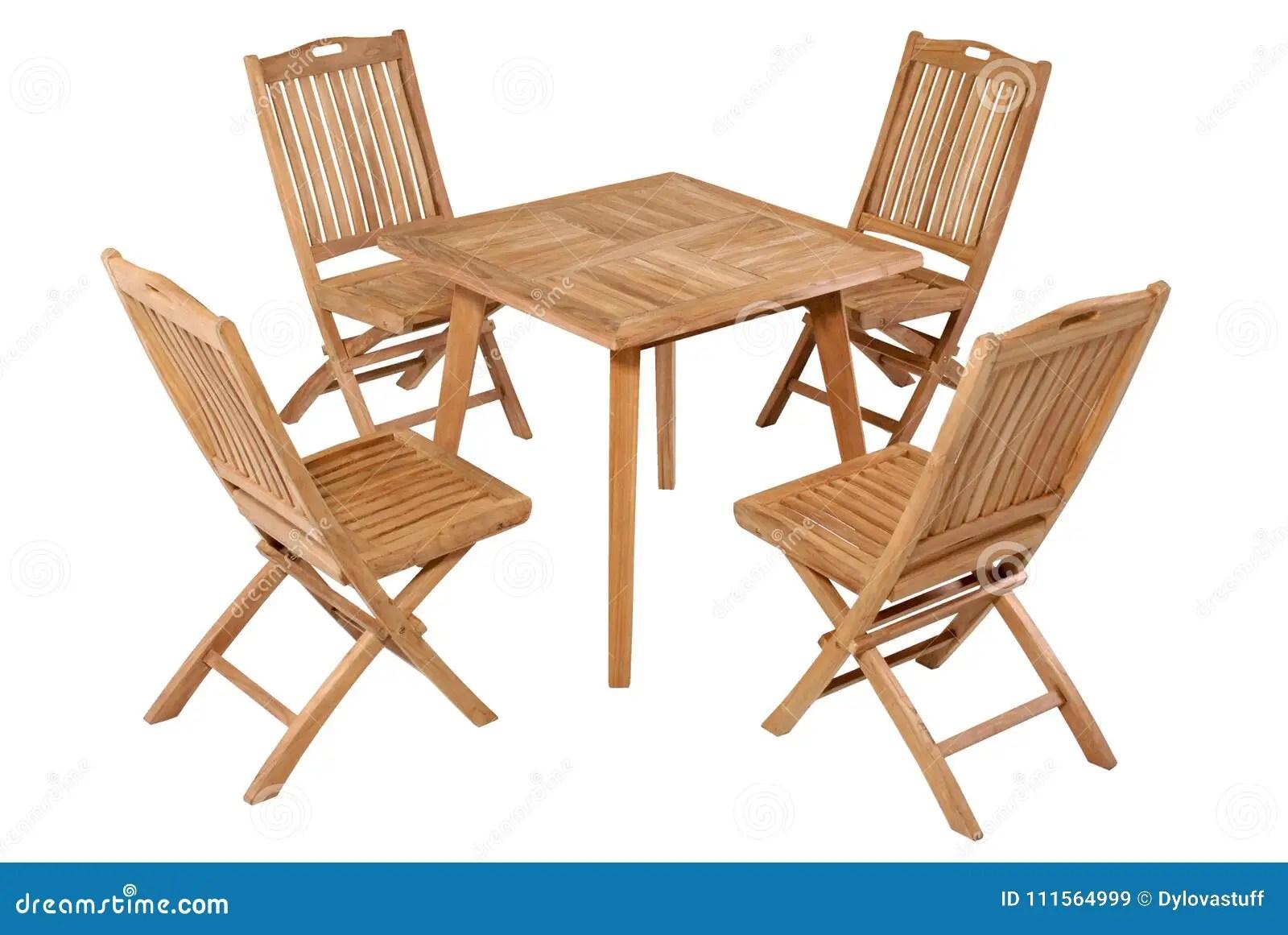 Teak Folding Table Garden Furniture Garden Furniture Set Stock Image Image Of Furniture Isolated 111564999