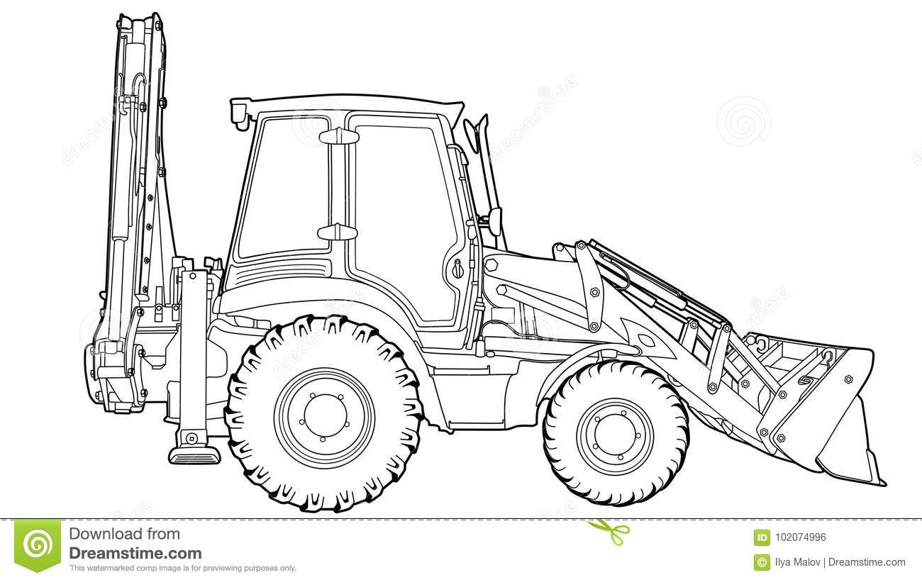 Technical Draw Of Tractor Stock Vector Illustration Of