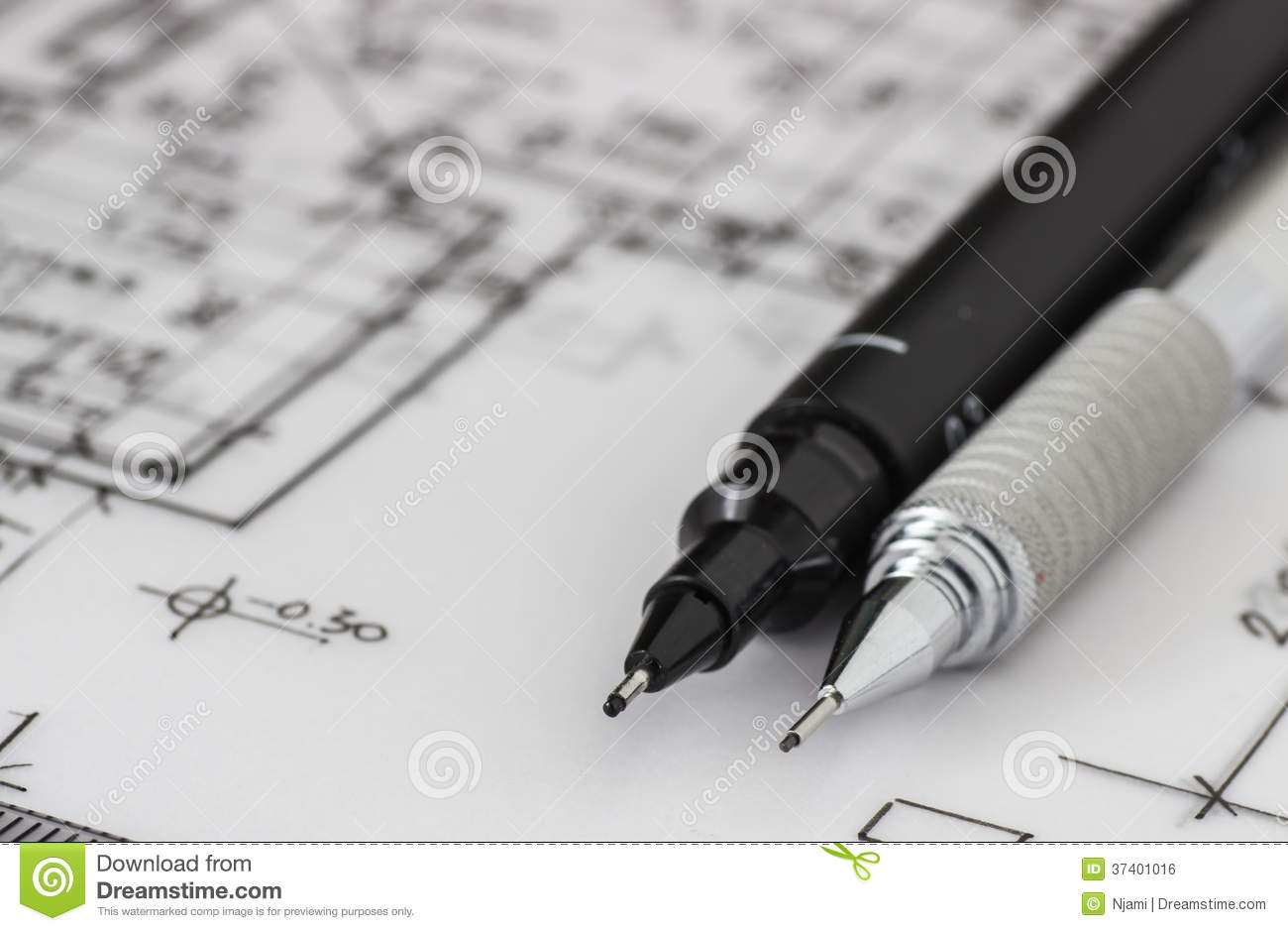 Technical And Mechanical Pen On Drawing Royalty Free Stock