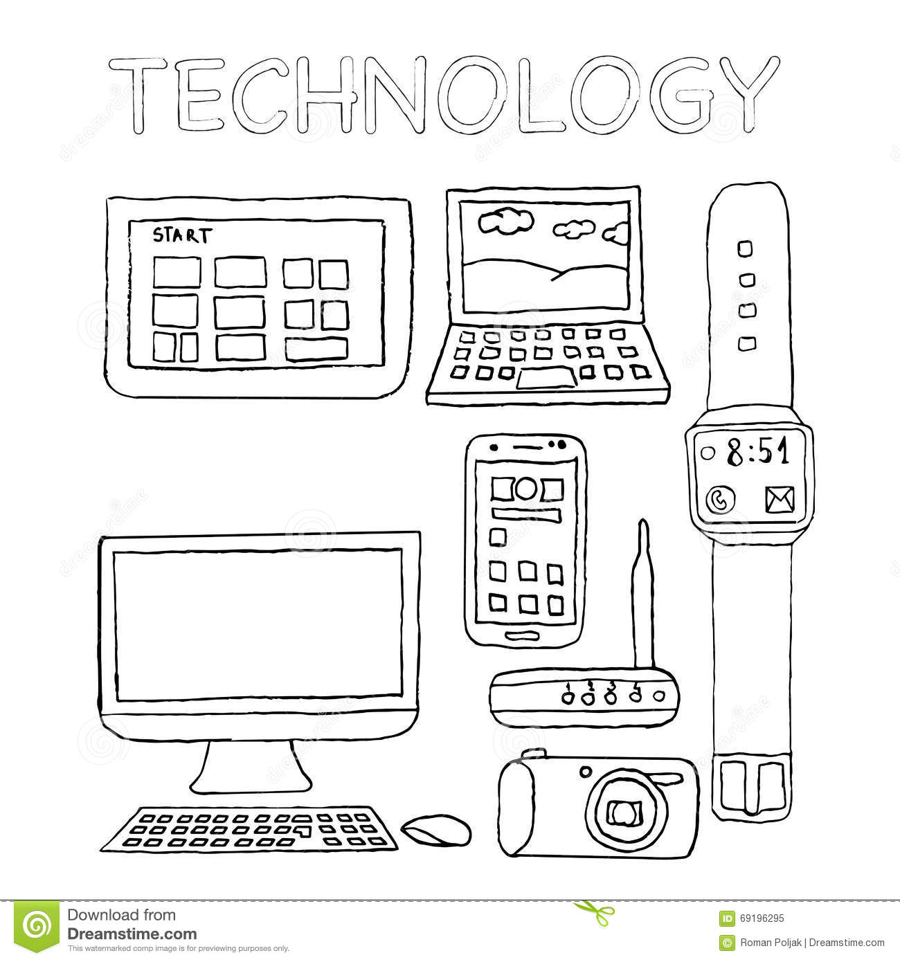 Matching Worksheet For Kindergarten Technology Devices