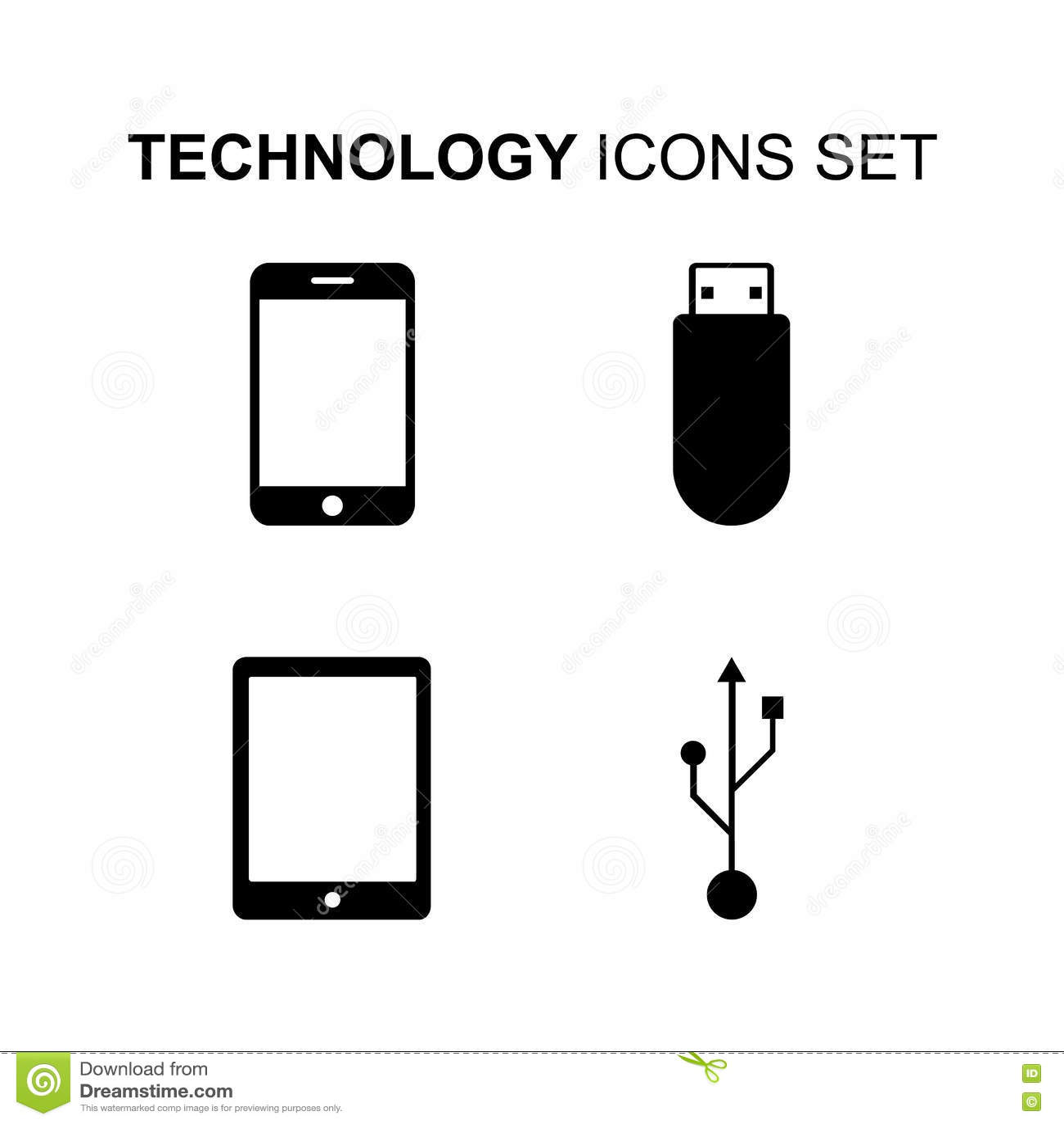 Computer Technology Vector Symbols Or Icons Set Cartoon