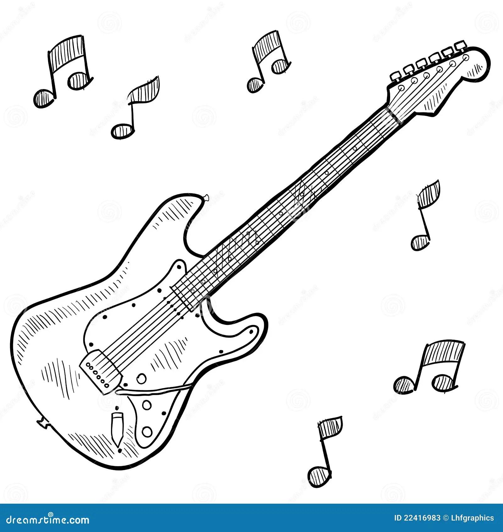 Teckningselkraftgitarr Vektor Illustrationer Illustration