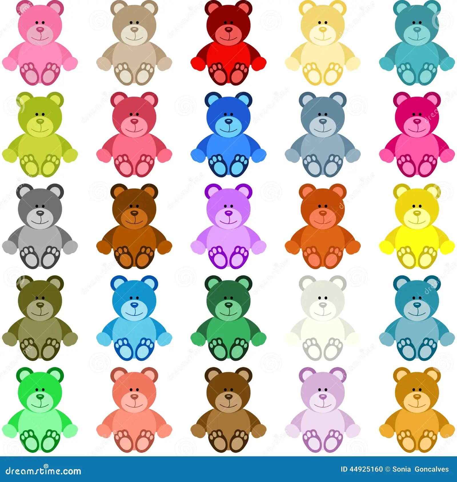 Teddy Bear Coloreado Ilustracion Del Vector Ilustracion