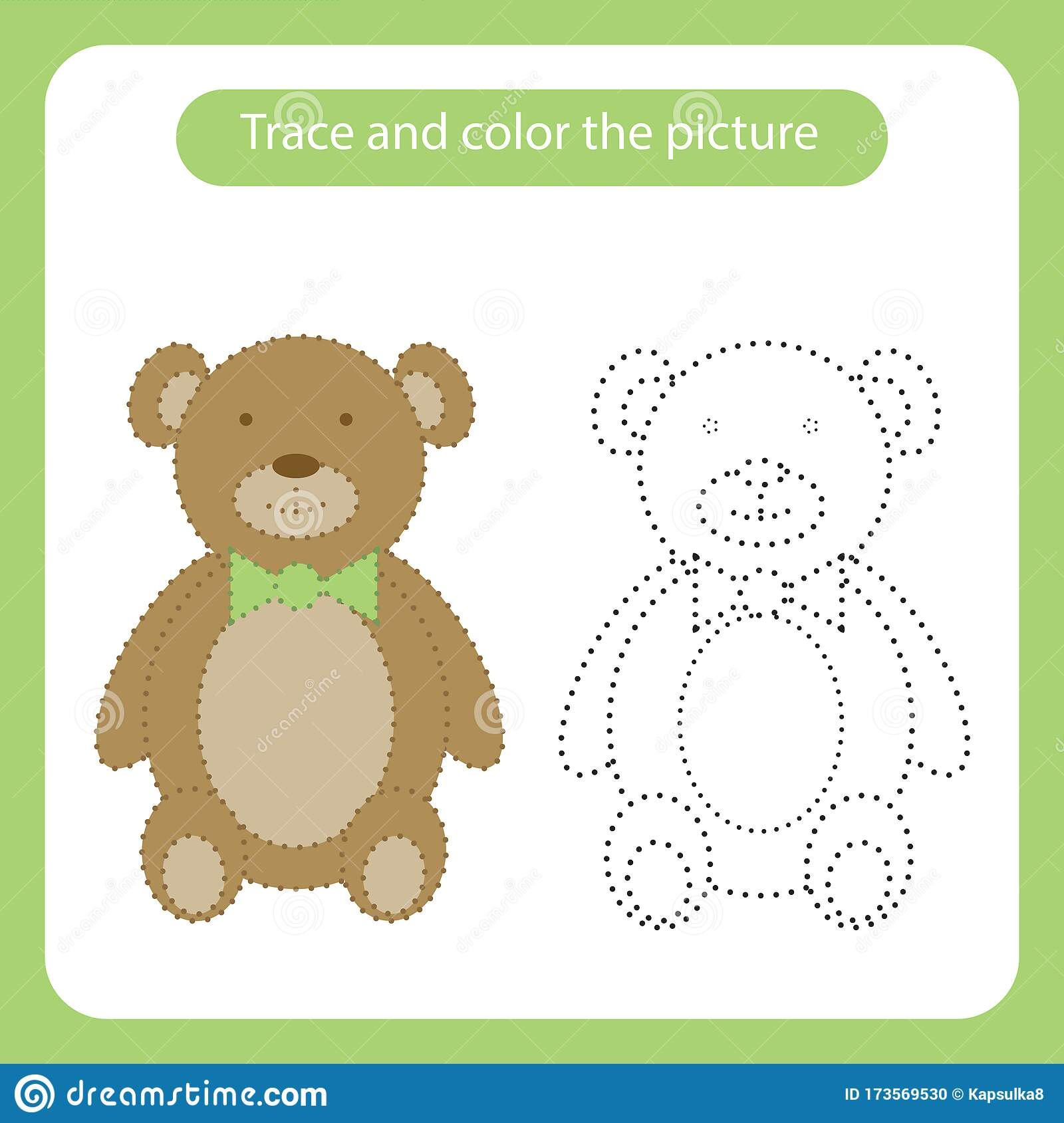 Teddy Bear Toy With Simple Shapes Trace And Color The