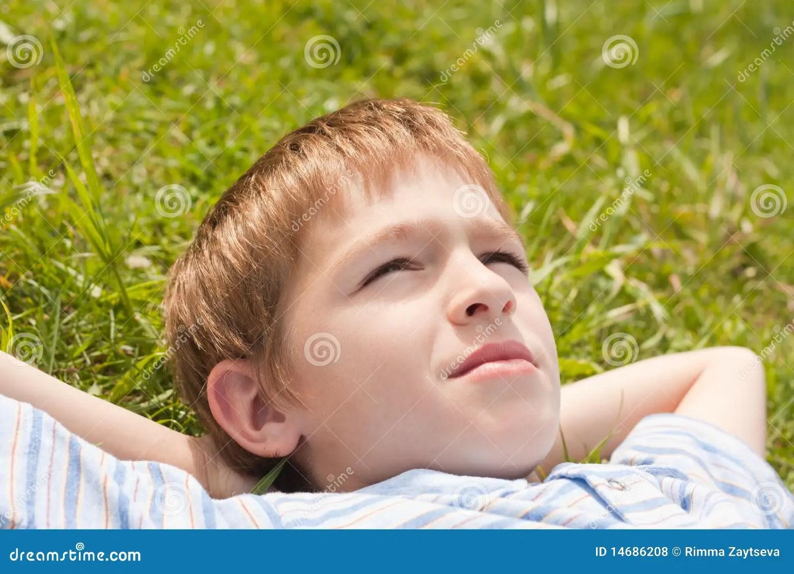 Teenager Lying On Grass Stock Photo Image Of Teenager