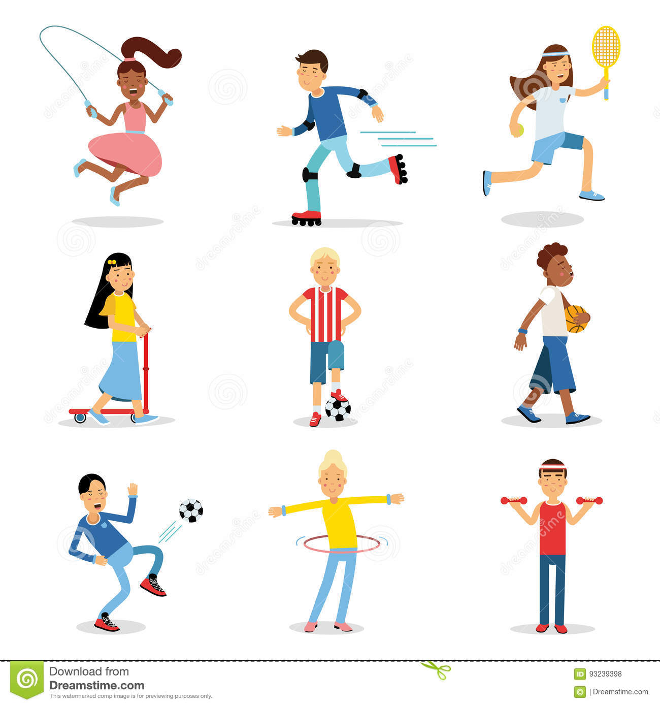 Teenagers Doing Different Sport Set Children Physical