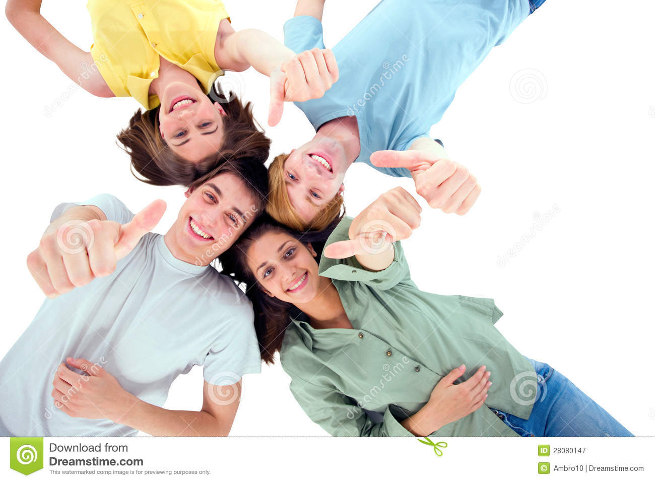 Teenagers Lying Down With Thumbs Up Royalty Free Stock