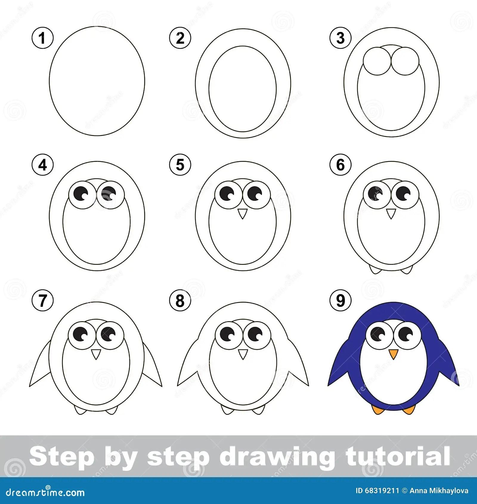 Tekeningsleerprogramma Hoe Te Om Een Pinguin Te Trekken