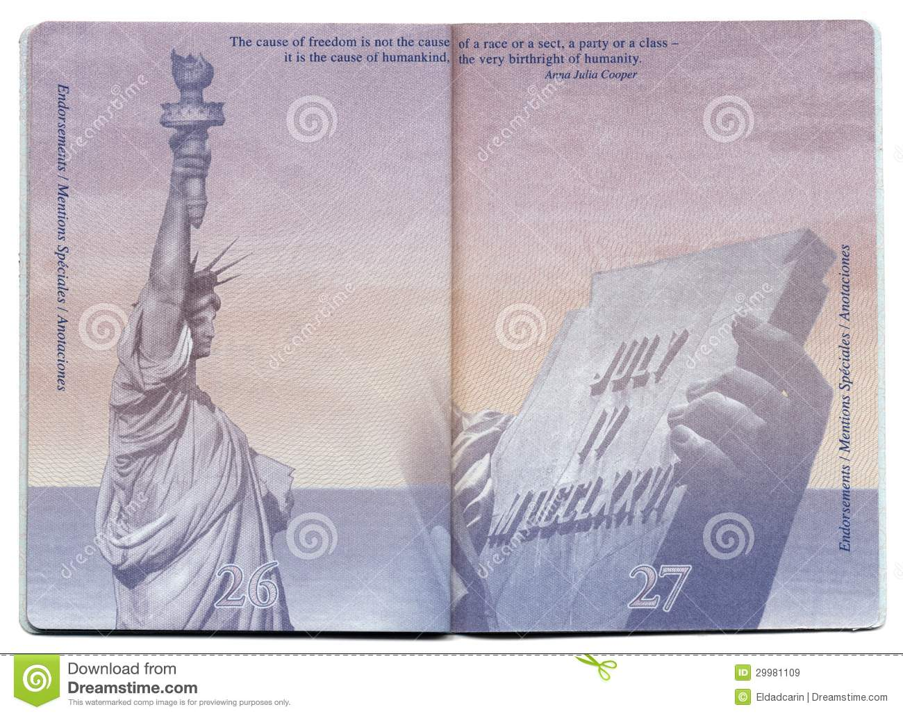 Usa Passport Blank Page Editorial Stock Image Image Of
