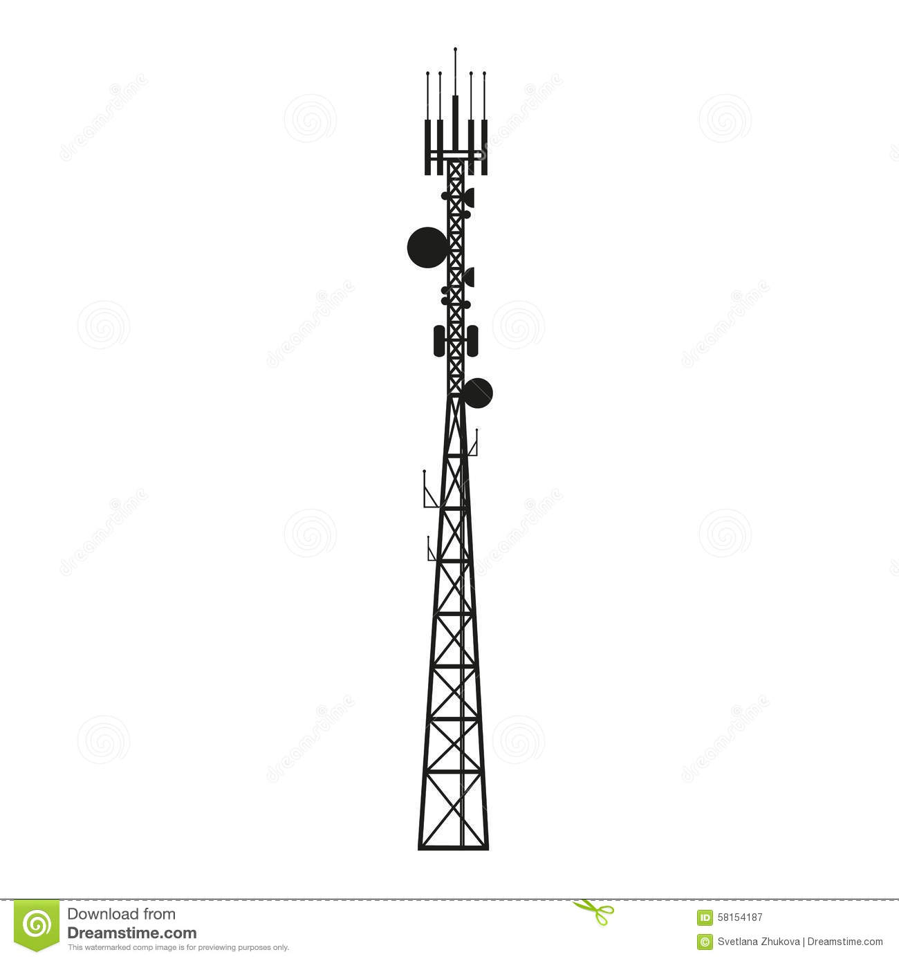 Telecommunication Antenna Mast Or Mobile Tower Stock