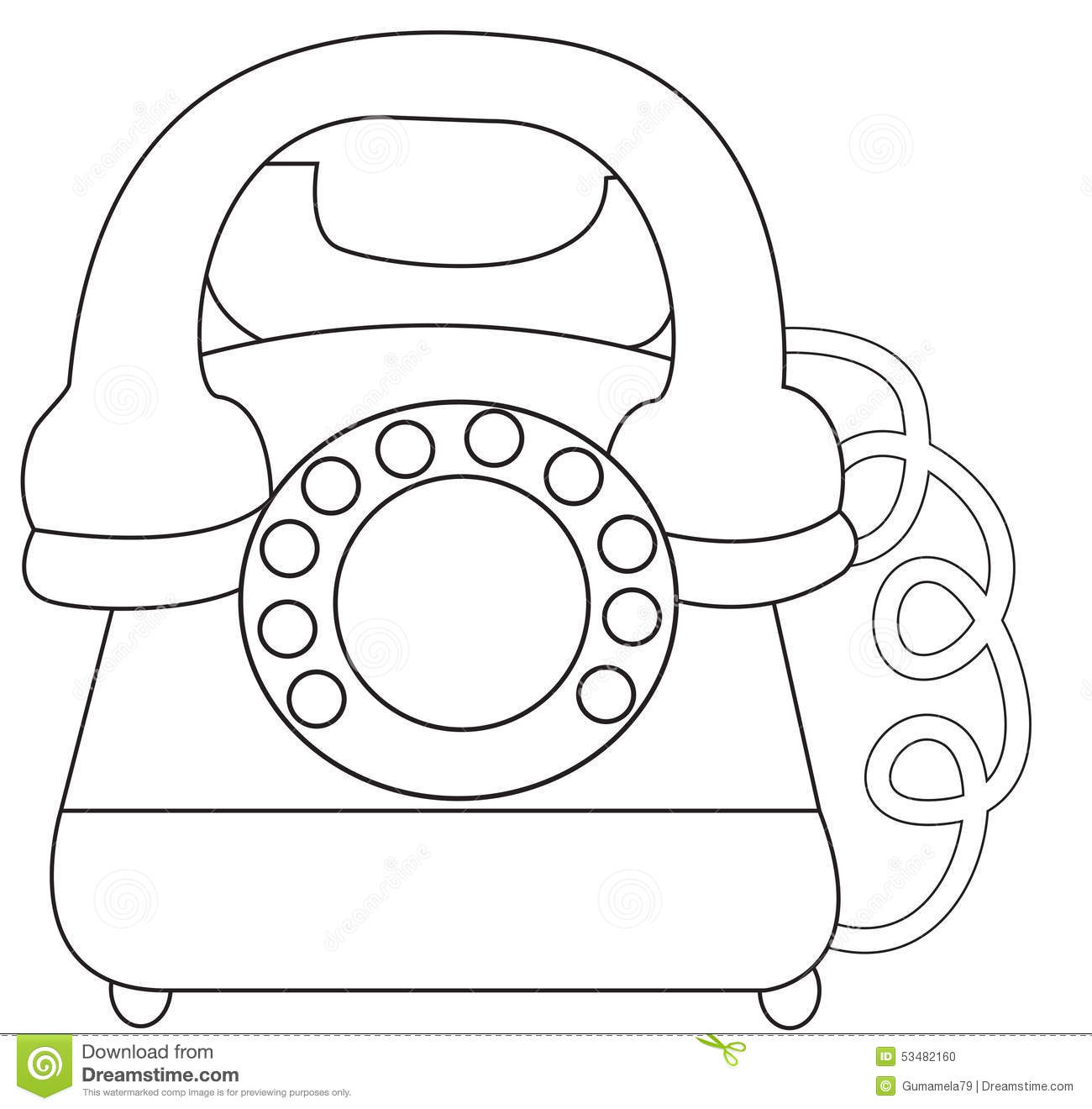 Telephone Coloring Page Stock Illustration Image Of Clean