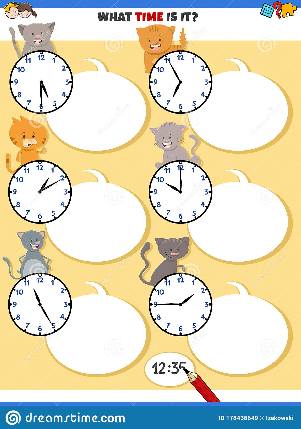 Telling Time Educational Task With Cute Cats Stock Vector