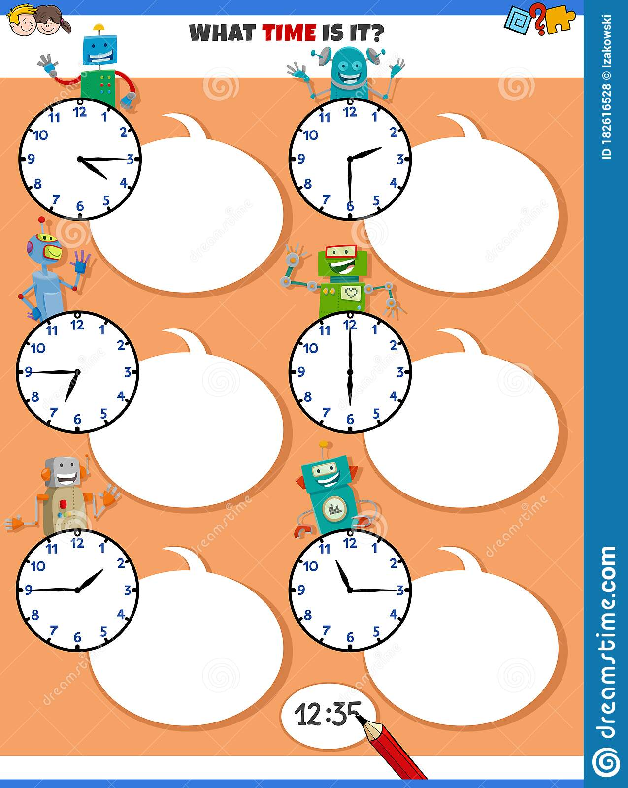 Telling Time Educational Task With Funny Robots Stock