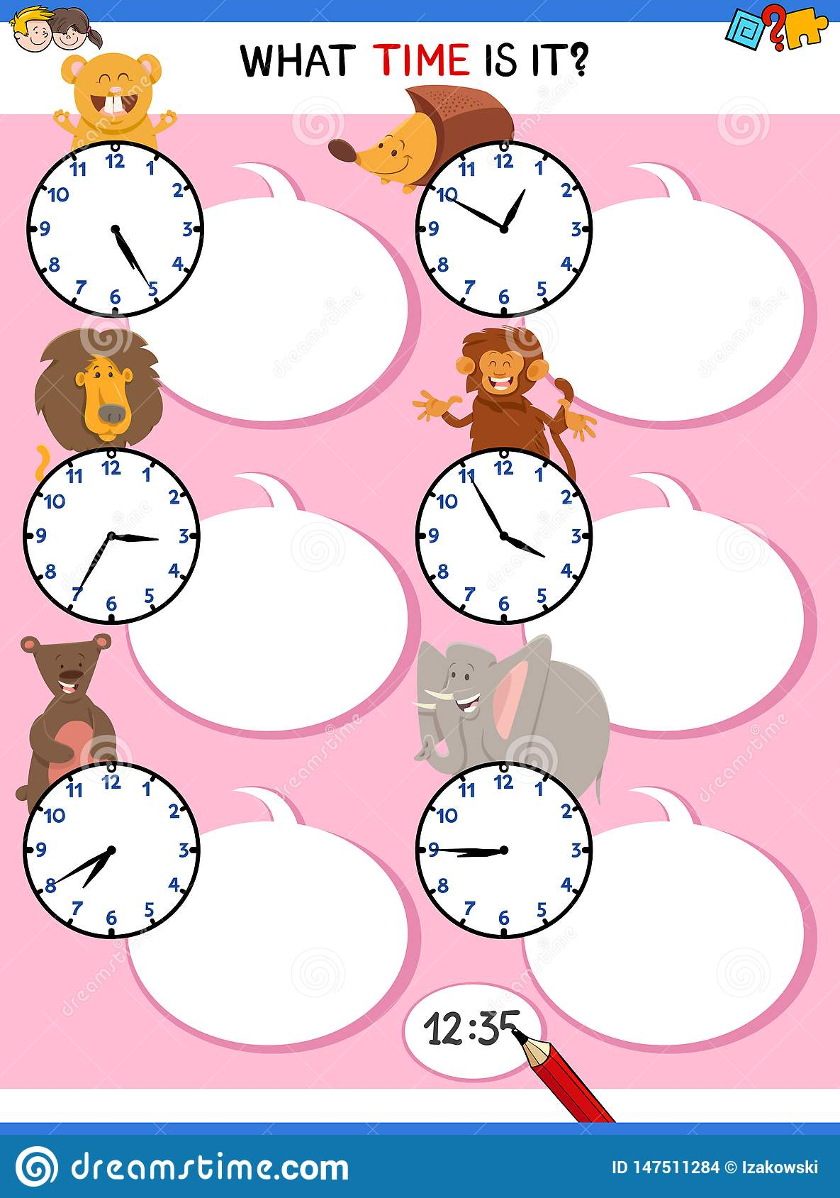 Telling Time Educational Worksheet With Animals Stock